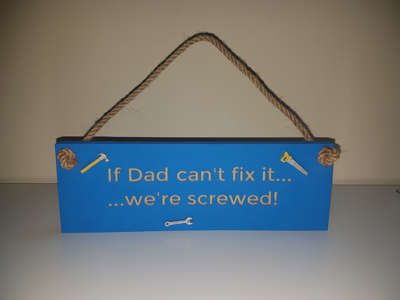 Hanging Dad sign